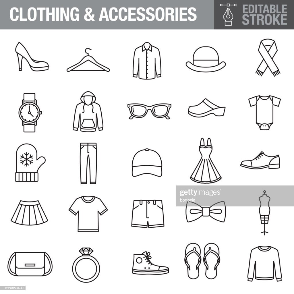 Clothing and Accessories Editable Stroke Icon Set : Stock Illustration