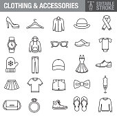 Clothing and Accessories Editable Stroke Icon Set