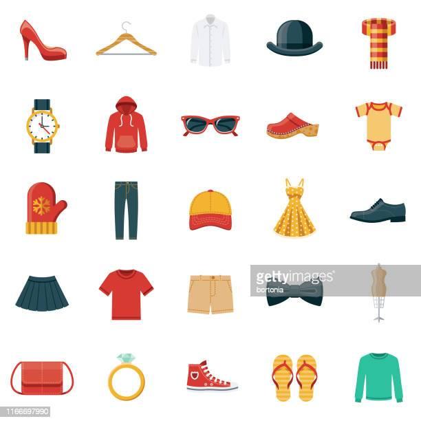 stockillustraties, clipart, cartoons en iconen met icon set voor kleding en accessoires - herenkleding