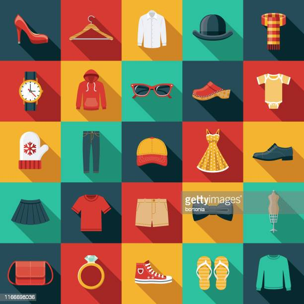 clothing and accessories icon set - all shirts stock illustrations