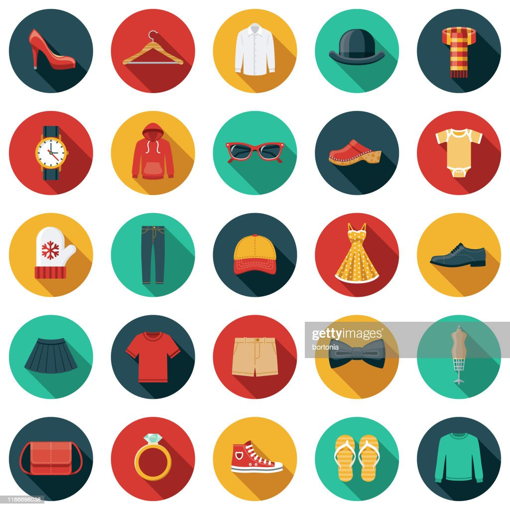 Clothing and Accessories Icon Set : Stock Illustration
