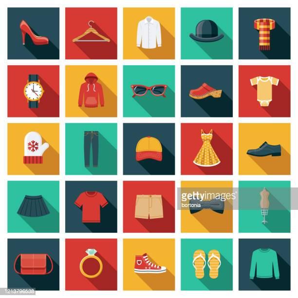衣類とアクセサリーアイコンセット - 服装点のイラスト素材/クリップアート素材/マンガ素材/アイコン素材