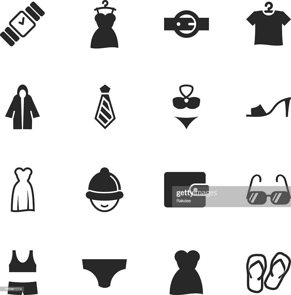 Clothing and Accessories Silhouette Icons