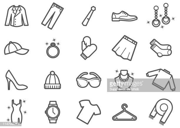 clothing and apparel line icons set - clip art stock illustrations