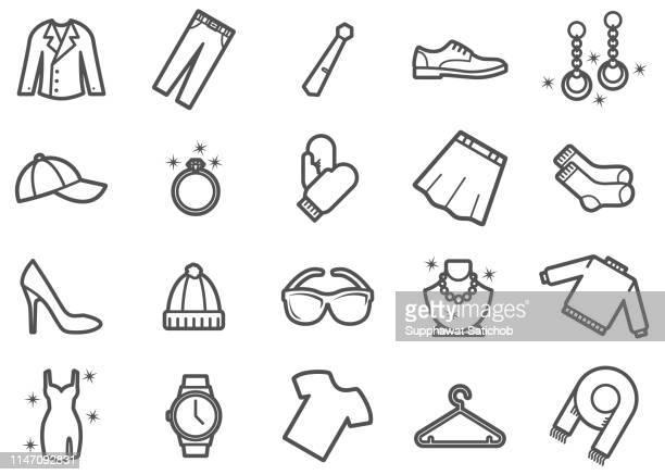 ilustraciones, imágenes clip art, dibujos animados e iconos de stock de iconos de línea de ropa y ropa conjunto - gala
