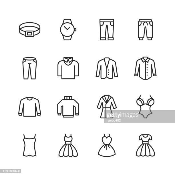 clothing and fashion line icons. editable stroke. pixel perfect. for mobile and web. contains such icons as clothes, fashion, jacket, trousers, jeans, dress, underwear, clock, belt, turtleneck. - uniform stock illustrations