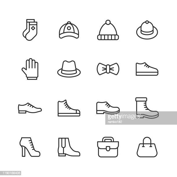clothing and fashion line icons. editable stroke. pixel perfect. for mobile and web. contains such icons as clothes, fashion, shoe, high heel shoes, sport shoes, hand bag, socks, hat, bow. - ankle boot stock illustrations