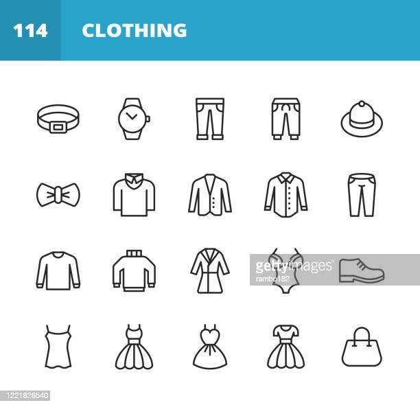 服とファッションラインアイコン。編集可能なストローク。ピクセルパーフェクト。モバイルとウェブ用。服、ファッション、ジャケット、ズボン、ジーンズ、ドレス、下着、時計、ベルト� - シャツ点のイラスト素材/クリップアート素材/マンガ素材/アイコン素材