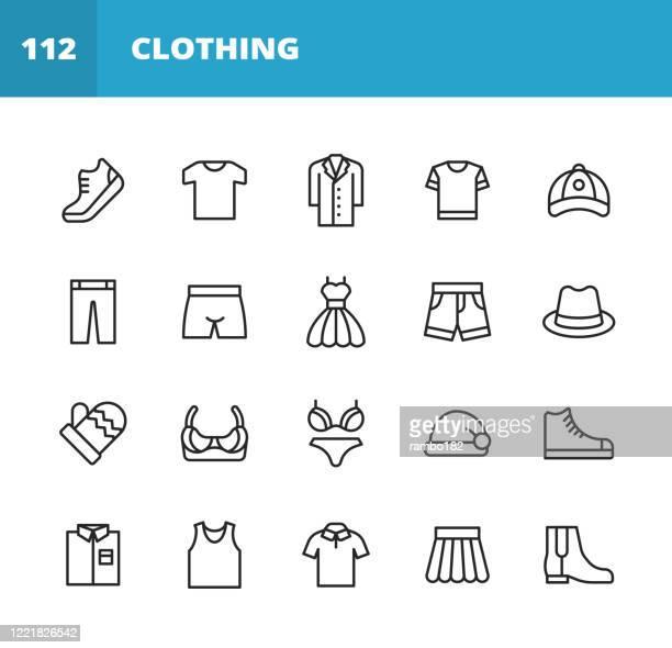 服とファッションラインアイコン。編集可能なストローク。ピクセルパーフェクト。モバイルとウェブ用。服、ファッション、ジャケット、tシャツ、コート、靴、下着、ブラジャー、スカー - 服装点のイラスト素材/クリップアート素材/マンガ素材/アイコン素材