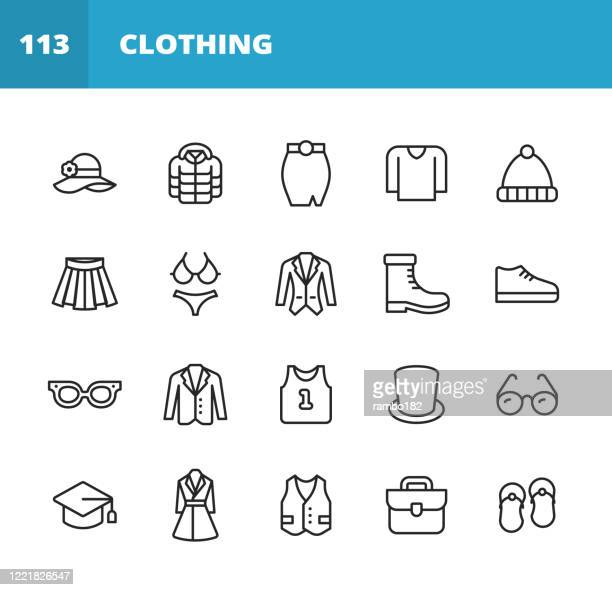clothing and fashion line icons. editable stroke. pixel perfect. for mobile and web. contains such icons as clothing, fashion, jacket, hat, skirt, sweater, dress, eyeglasses, vest, bra, suit, coat, sports shirt, tuxedo, winter jacket, wardrobe, panties. - winter coat stock illustrations