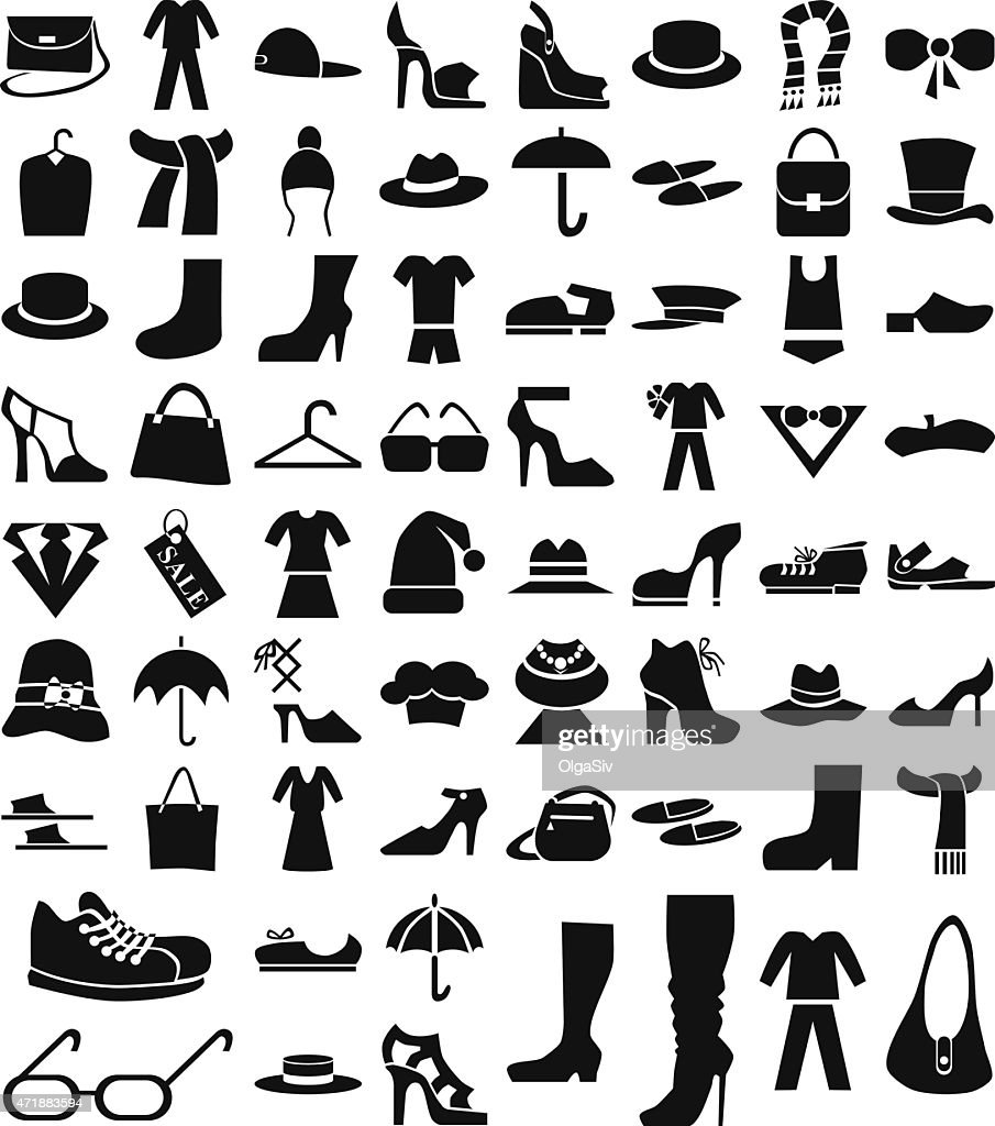 clothing and footwear icons on white