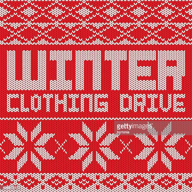 clothing drive knitted sweater pattern poster - jacket stock illustrations