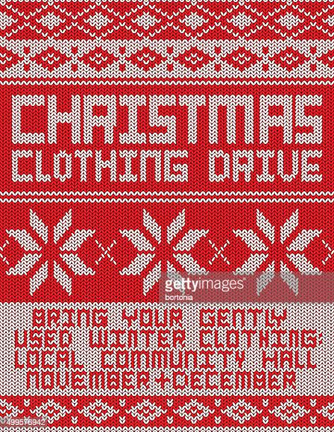 clothing drive knitted sweater pattern poster - sweater stock illustrations, clip art, cartoons, & icons