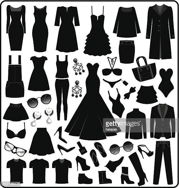 clothing- fashion silhouette - dress stock illustrations