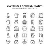 Clothing, fasion flat line icons. Men, women apparel - dress, down jacket, jeans, underwear, sweatshirt. Thin linear signs for clothes and accessories store. Pixel perfect 64x64