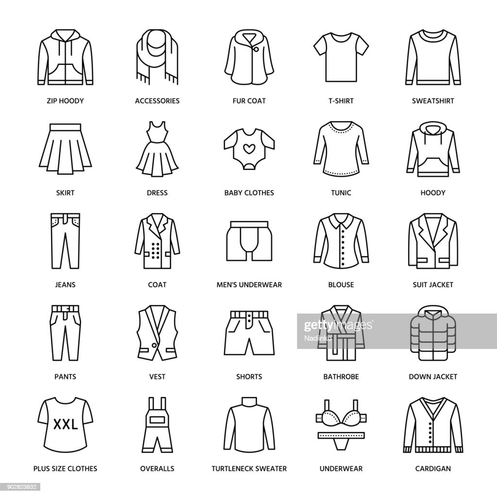 Clothing, fasion flat line icons. Mens, womens apparel - dress, suit jacket, jeans, underwear, sweatshirt, fur coat. Thin linear signs for clothes and accessories store