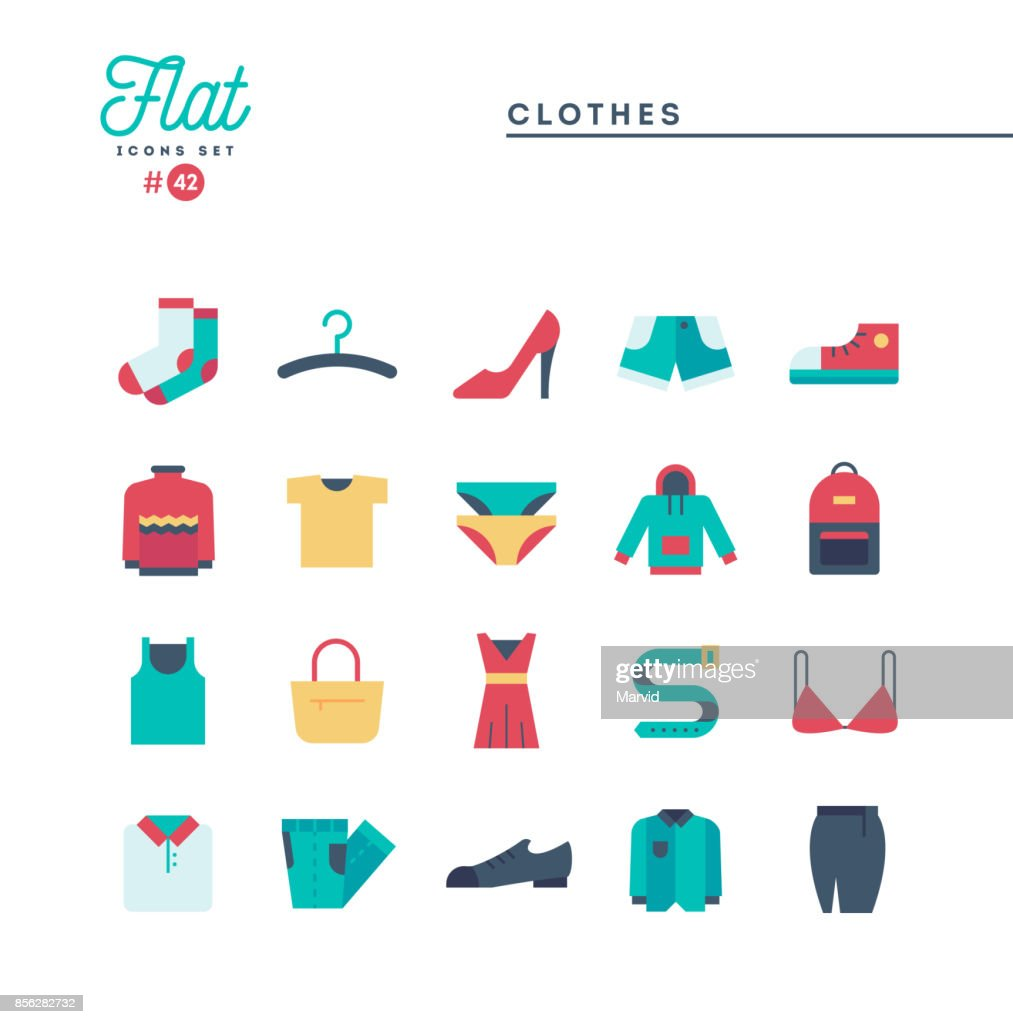 Clothing, flat icons set, vector illustration