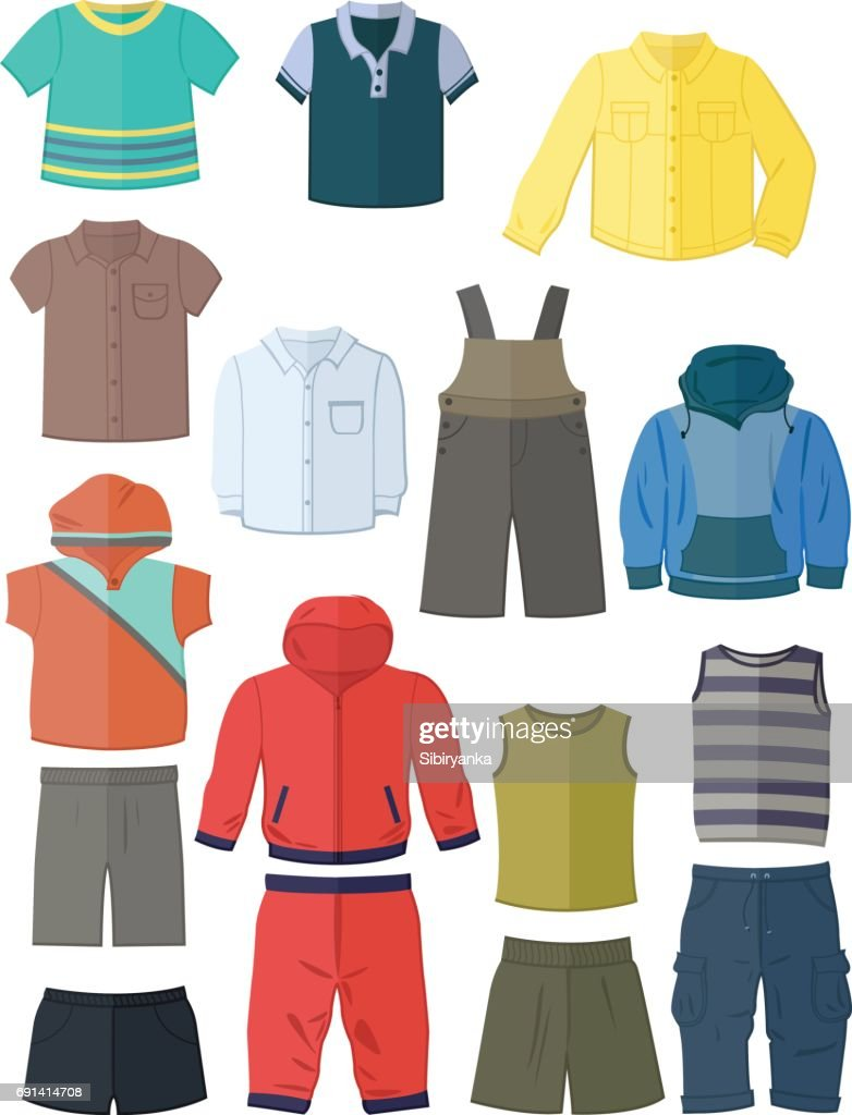 Clothing for little boys in flat design