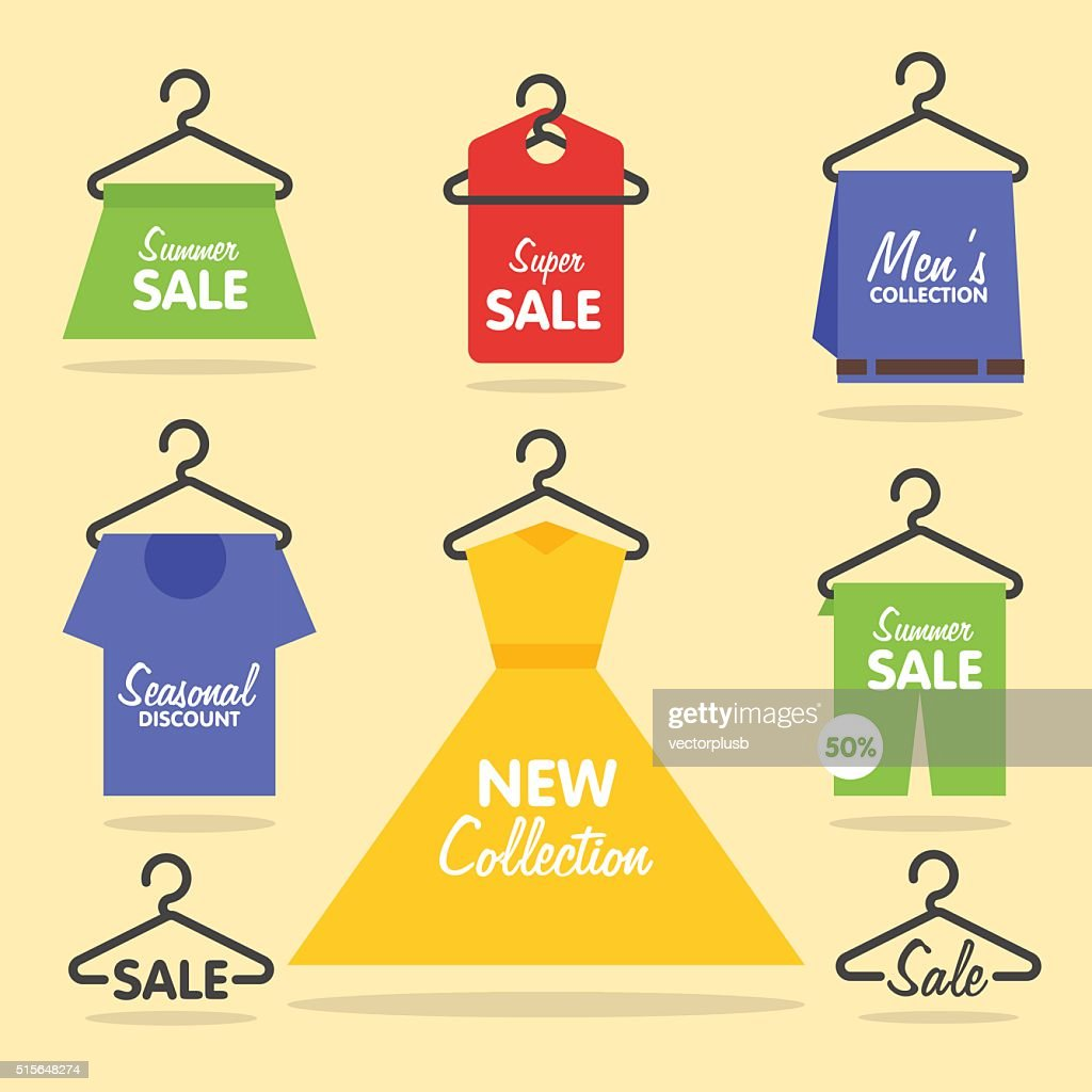 Clothing hangers SALE signage and banners