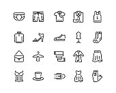 Clothing icons, outline style