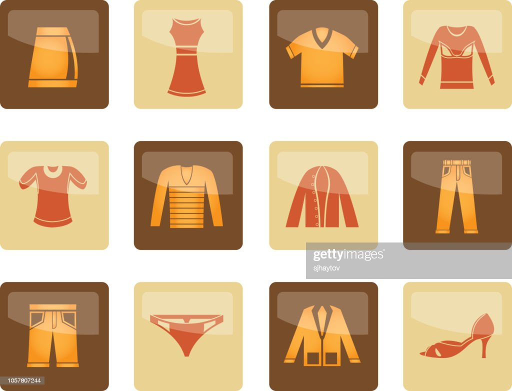 Clothing Icons over brown background