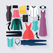 Clothing icons set, shopping elements. Flat design vector.
