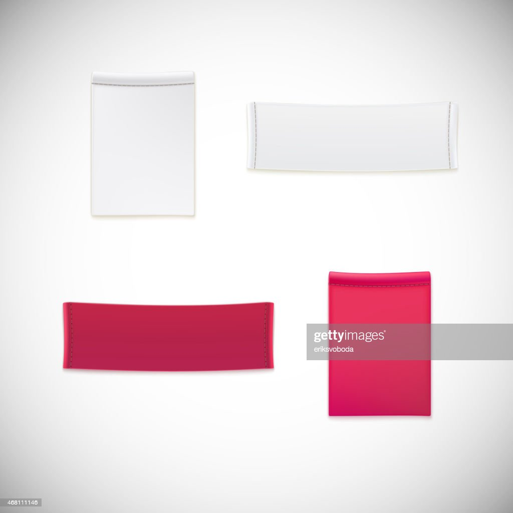 A clothing label of realistic white and pink vectors