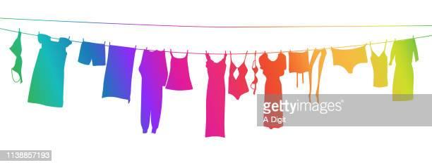 ilustraciones, imágenes clip art, dibujos animados e iconos de stock de línea de ropa rainbow - sostén
