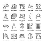 Clothing repair, alterations flat line icons set. Tailor store services - dressmaking, clothes steaming, curtains sewing. Linear signs set, logos for atelier