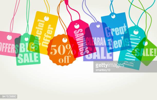 clothing sale labels - luggage tag stock illustrations, clip art, cartoons, & icons