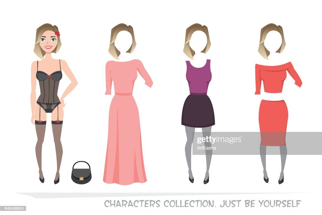 Clothing sets for female. Constructor character.