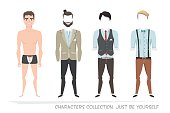 Clothing sets for men. Constructor character.