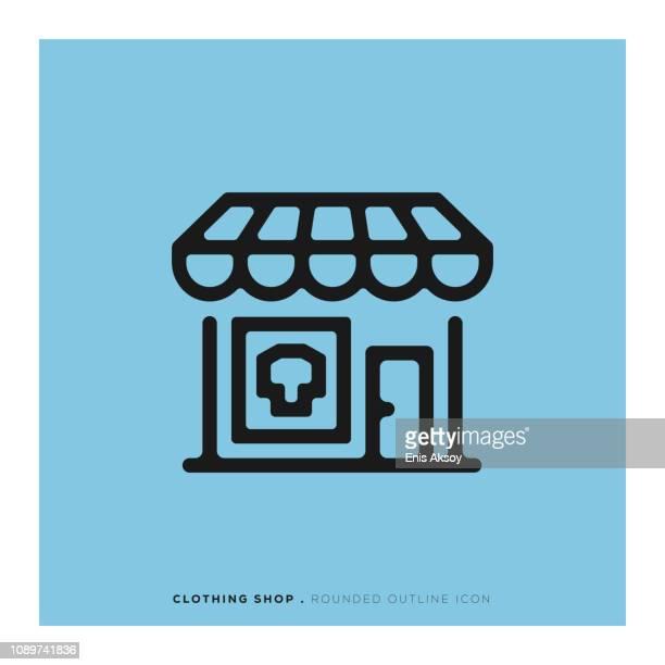 ilustraciones, imágenes clip art, dibujos animados e iconos de stock de tienda de ropa completa línea icono - boutique