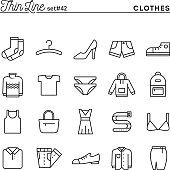 Clothing, thin line icons set