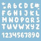 Cloud alphabet vector set.
