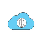 cloud and internet colored icon vector design illustration