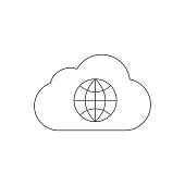 cloud and internet outline icon vector design illustration
