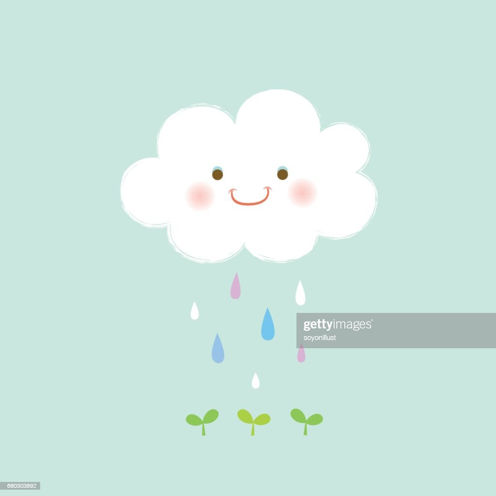 Cloud and raindrops with green sprout