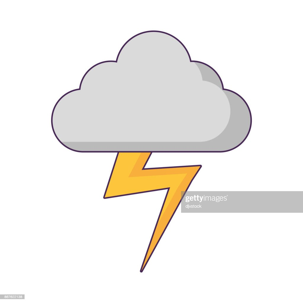 Cloud And Thunder Icon Vector Art Getty Images
