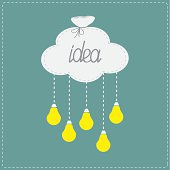 Cloud bag hanging light bulbs. Innovation idea concept. Flat
