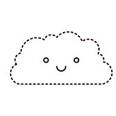 cloud cartoon kawaii in monochrome dotted silhouette
