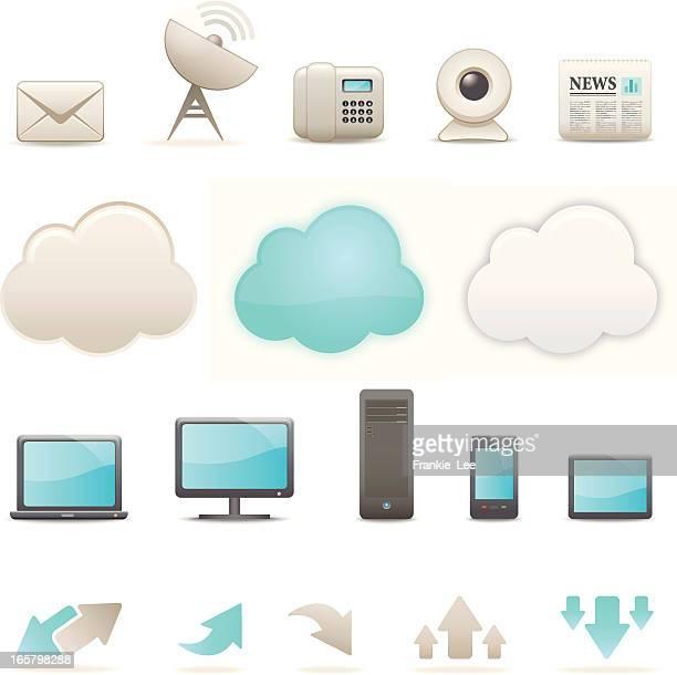 ilustraciones, imágenes clip art, dibujos animados e iconos de stock de nube informática elementos-conjunto 1 - telefono fijo