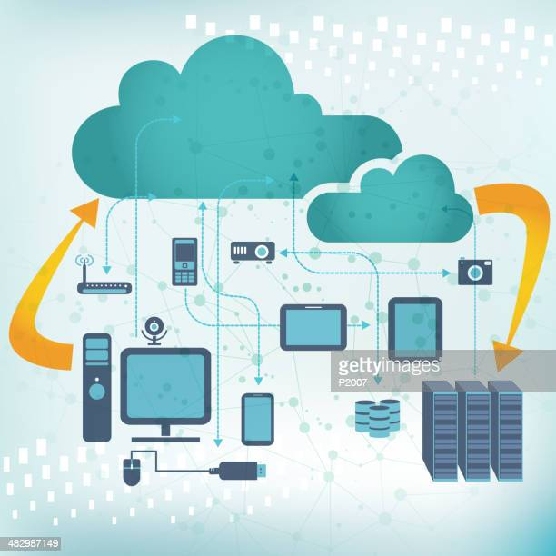 cloud computing and computer network concept - hard drive stock illustrations, clip art, cartoons, & icons