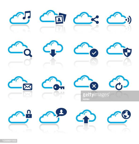 Cloud Computing and Media Two Color Icons Set
