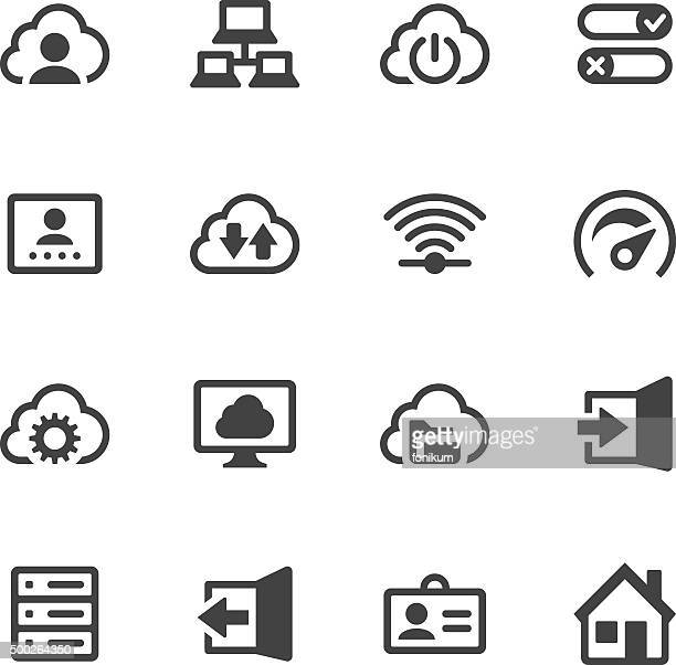 cloud computing and networks - door stock illustrations