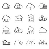 Cloud computing and storage of data icons set. Line with Editable stroke