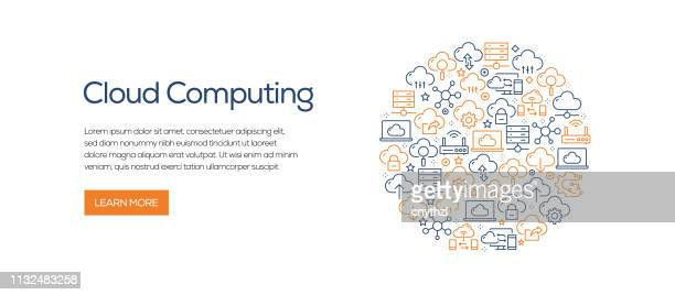 cloud computing banner template with line icons. modern vector illustration for advertisement, header, website. - cloud computing stock illustrations