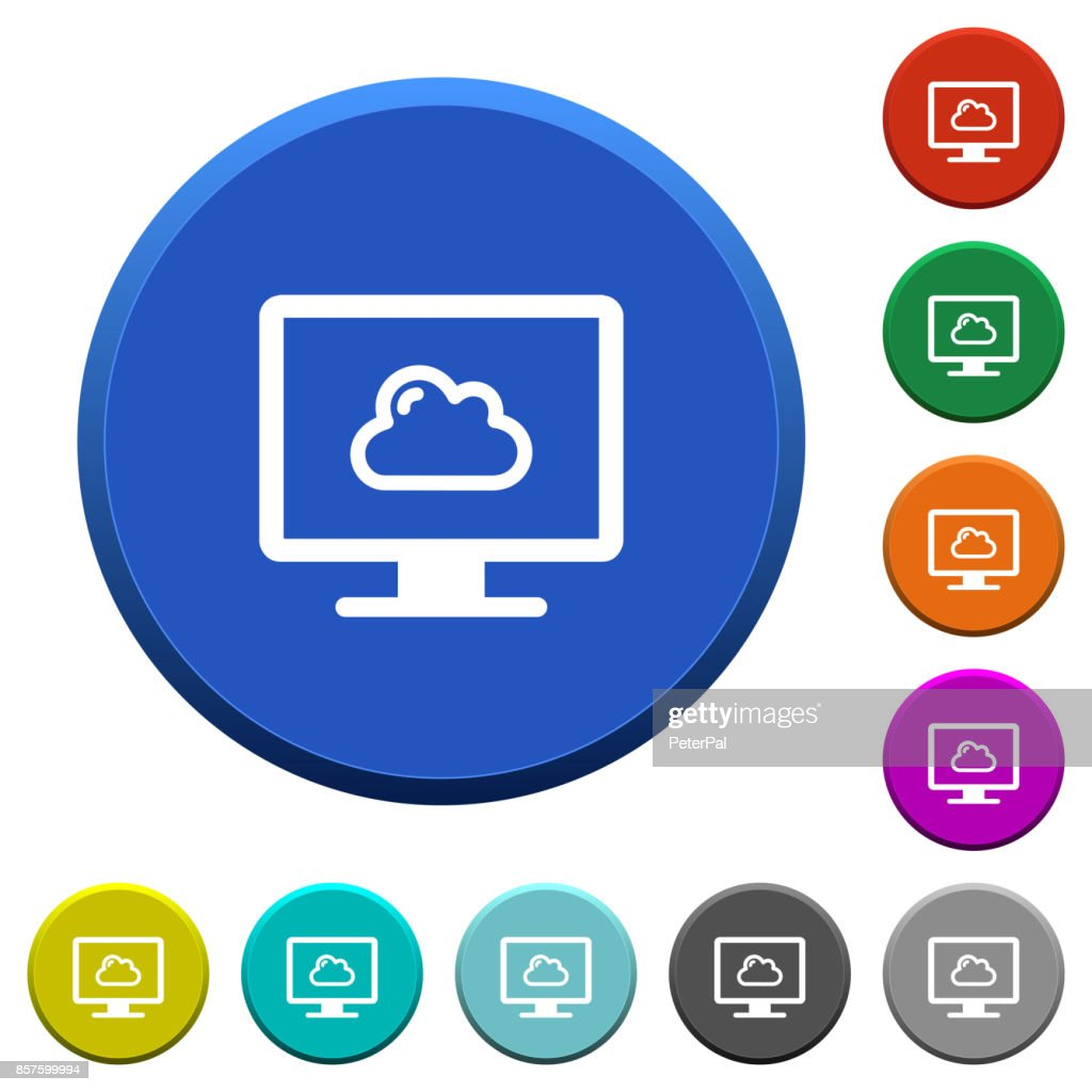Cloud computing beveled buttons