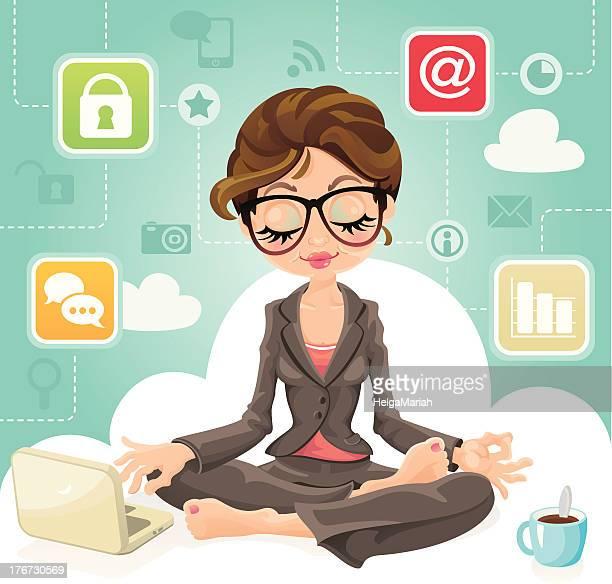 cloud computing business woman - lotus position stock illustrations
