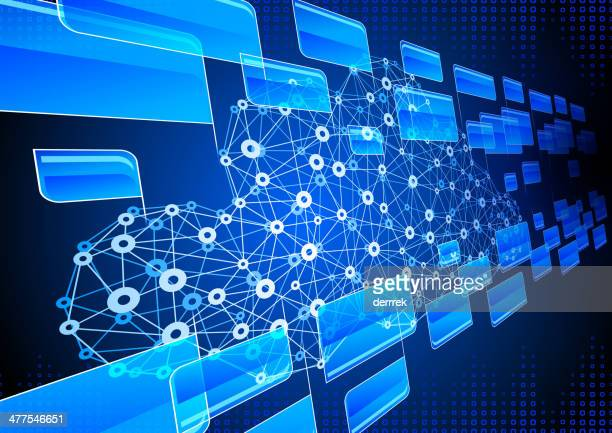 cloud computing communication technology - electronic organizer stock illustrations, clip art, cartoons, & icons
